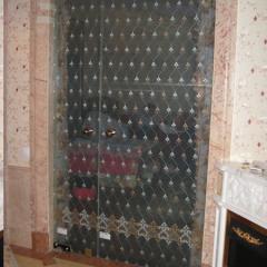 Стеклянная дверь с тканью внутри